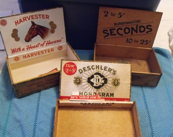 Wooden Cigar Boxes, Three Collectible Old Containers