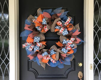 Fall Wreath Fall Acorn Front Door Wreath Large Fall Wreath Autumn Orange  Blue Wreath Autumn Brown