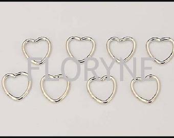 8 / 40 rings open 10Mm silver Metal heart