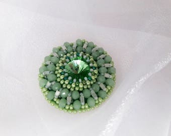 Lime brooch Green everyday Earth Day jewelry broach Crystal green eco friendly small embroidery hanmade round brooch Wife statement gift