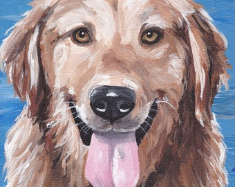 Golden Retriever art print from original Golden Retriever in water painting, canvas and paper options