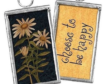 "Daisy - Choose to be Happy -- Little 1-5/8"" Reversible Framed Ornament Charm"