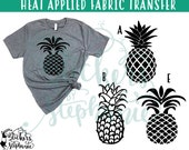 IRON On VINYL v230 Pineapple Silhouettes Heat Applied T-Shirt Fabric Transfer Decal *Color Choice in Notes or BLACK Vinyl 113 Color Options
