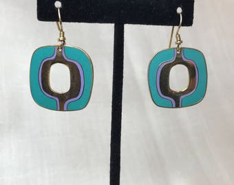 Laurel Burch Vintage Turquoise Square Earrings