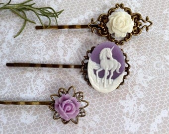 Lovely Pastel Lilac And White Unicorn  And Brass Hair Clips
