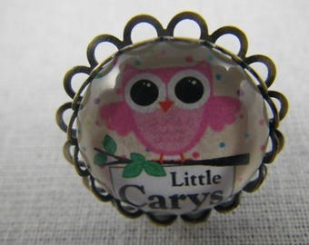 Bague024 - OWL ring / bronze and pink OWL