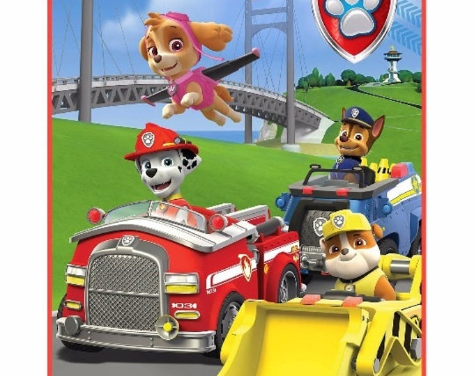 "Paw Patrol ""Pups In Motion"" Silk Touch Throw Soft 40"" x 50"" Blanket - Monogrammed"