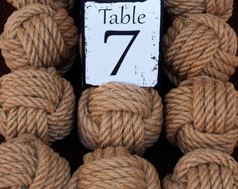 Coastal Wedding  Hemp Rope 6 Table Number Holders for your Nautical Wedding Monkey Fist Rope Knots (brn1)