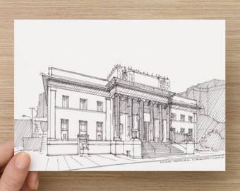Ink Sketch of Corinthian Grand Ballroom in San Jose, California - Drawing, Art, Neo Classical, Architecture, Pen and Ink, 5x7, 8x10, Print