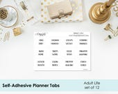 Planner Tabs - Adult Life laminated self-adhesive - PERMANENT - sturdy tabs - set of 12 - divider tabs