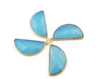 Valentine Day 4 Pcs Blue Aqua Chalcedony Faceted 24k Gold Plated D Shape Single Bail Pendant 33mmx16mm-34mmx17mm BC928