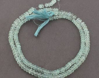 Valentines Day 2 Strands Aqua Chalcedony Faceted Rondelles  - Aqua Chalcedony Faceted Rondelle Beads 6mm-7mm 13 Inches SB3840