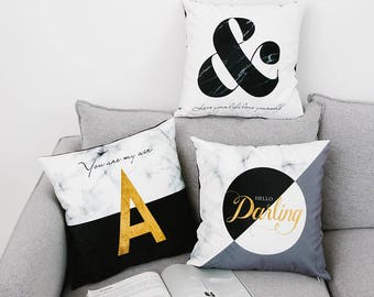 Decorative  Pillow cover, Black white marble  printed soft velvet cushion cover/throw pillow cushion shell customized