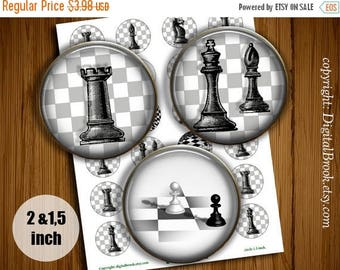 SALE 50% Chess Pieces Digital Collage Sheet 2 inch 1.5 inch Printable circle images for Pocket Mirrors Magnets Labels Pendant - 155