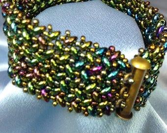 Juniper-Herringbone Woven Beaded Bracelet