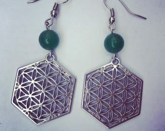 Silver Flower of Life Jade Earrings