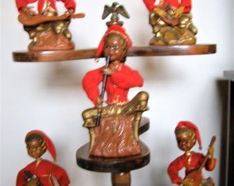 Set of Five Vintage Pixie Elves Figures / Statues / Bank With Instruments - Handcrafted by Lobeco - Hong Kong