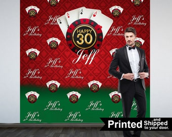Casino Theme Party Personalized Photo Backdrop -Gambler Step and Repeat Photo Backdrop- Birthday Photo Booth Backdrop, Las Vegas Theme