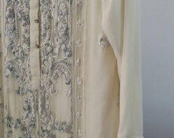 Vintage / Cream Silk Indian Tunic Dress With Grey Embroidery And Rinestone Snap Details