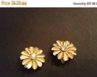 SALE Vintage Gold Flower Rhinestone Earrings Costume Jewelry