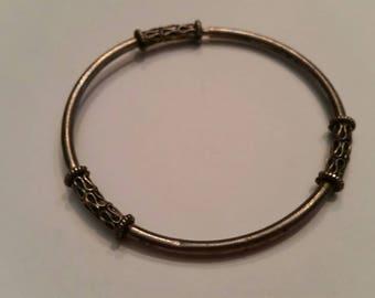 Vintage Silver Bangle Bracelet Scroll Bali