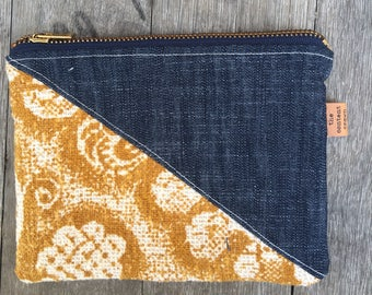 Vintage Textile and Denim Pouch