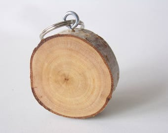 Silver Birch Wood Tree Branch Slice Rustic Style Wooden Keyring