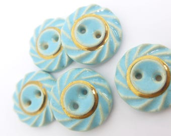 Vintage Ceramic Turquoise Gilt Glazed Pottery Buttons x 5
