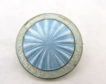 Vintage Art Deco J A & S Sterling Silver Engine Turned Guilloche Enamel Brooch Pin