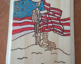 Woodburning Plaque memorializing fallen soldier