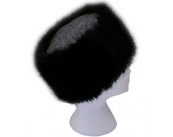 Harris Tweed Size Large Black & Grey Herringbone Cossack Hat with Luxury Black Faux Fur