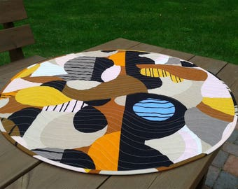 Round Quilted Table Topper From Marimekko Linen Fabric Britta Maj, Modern  Fall Autumn Table Cloth