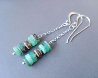 Chrysoprase, coconut wood and Sterling Silver earrings