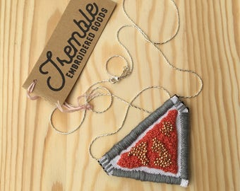 Triangle Pendant Embroidered and Beaded Necklace