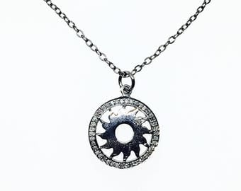 Pave diamond Sun Pendant charm necklaces set in sterling silver(92.5). Natural authentic diamonds.