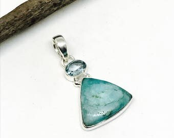 Amazonite, blue topaz pendant, necklaces set in sterling silver 92.5. Natural authentic stones. Length- 2 inch. One of its kind.