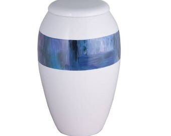 Hand Painted Blue Ring Urn