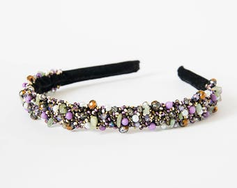 Velvet headband beaded Beaded tiara Bead embroidered headband Purple bronze headband women Hair accessories Beaded embroidery headpiece
