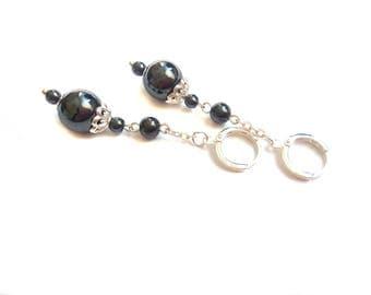 Dangle hematite earrings Chain dangle silver earrings Long chain earrings Everyday drop earrings Earrings for girlfriends Under 20 dollars