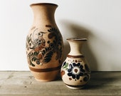 Vintage mexican pottery vase | floral ceramic mexican vase