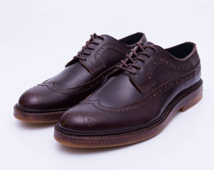 Brogue Carving Men's Shoes,Handmade Goodyear Welted Men Shoes