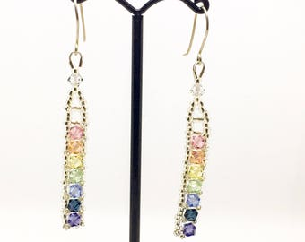 Pastel rainbow earrings - Swarovski crystal - sterling silver wires - Boho earrings