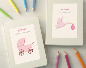 Personalised New Baby Girl Notebook (2 designs available)