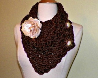 On Sale- Scarf Triangle Infinity Chocolate Brown With Buttons Winter Neckwarmer With Flower Brooch Freeform Crochet