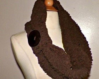On Sale- Brown Cowl Infinity Scarf Brown Chunky Button Neckwarmer Winter Over Sized Earth Tone