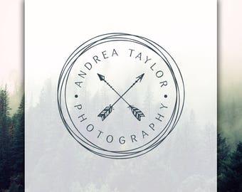 Arrows Logo | Stamp Logo | Premade Logo Design | Round Tribal Logo | Boho Logo | Rustic Logo | Photography Logo & Watermark | Hipster Logo