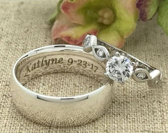 His and Hers Wedding Rings, Personalize Engrave Sterling Silver Wedding Band, Sterling Silver Solitaire Ring. Wedding Rings, Couples Ring