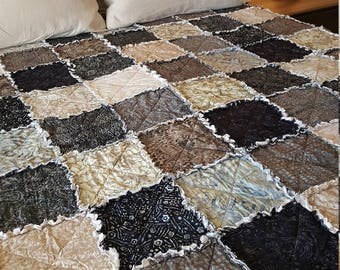 Gotham Tonga Batiks Queen Rag Quilt - Grays, Charcoal, Slate, Tan, Ivory, and Blues