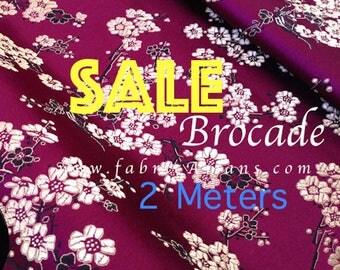 2 Meters Cherry blossom purple brocade fabric