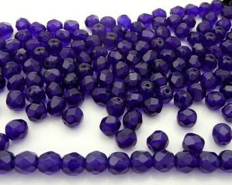 150 Cobalt Blue 8mm, Preciosa Czech Fire Polished Round Faceted Glass Beads, Czech Glass Fire Polish Beads, loose deep navy blue